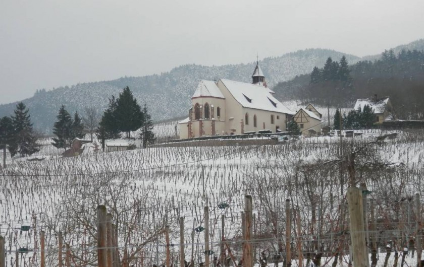 Location de vacances - Gîte à Dambach-la-ville - chapelle au milieu des vignes sous la neige