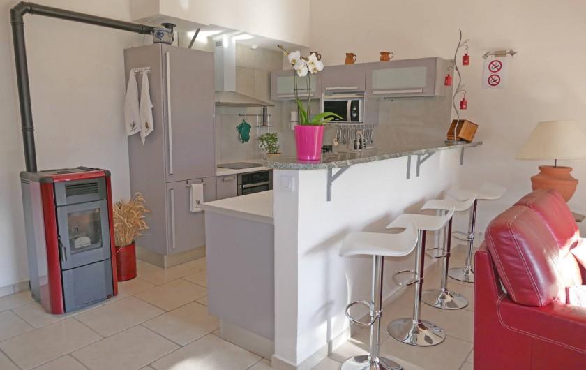 Location de vacances - Gîte à Vidauban - Cuisine et comptoir  poêle  a granule