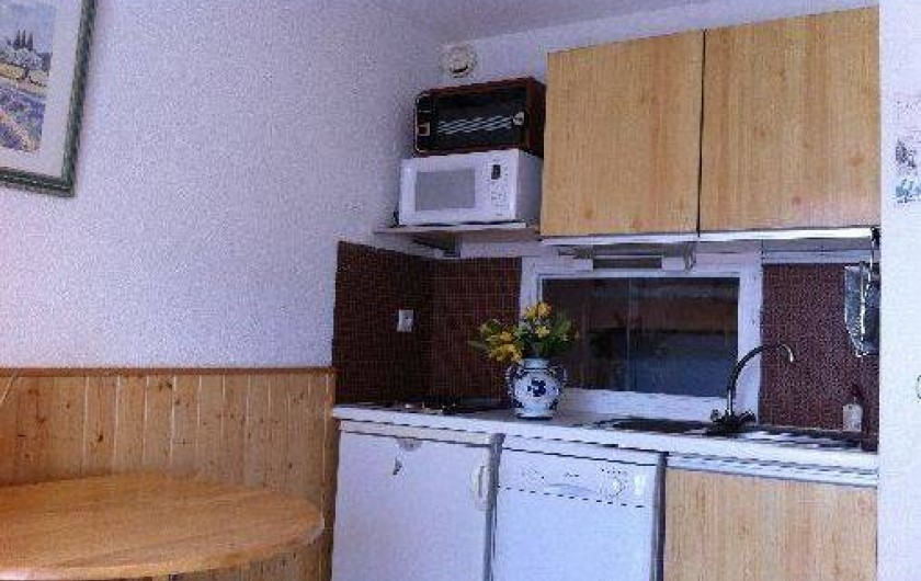 Location de vacances - Studio à La Foux d'Allos - coin cuisine équipé d'un lave vaisselle