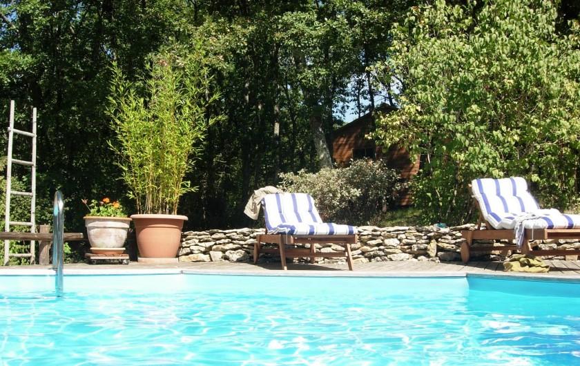 Location de vacances - Gîte à Aubas - Votre piscine privative plein sud sur terrasse bois devant la maison.