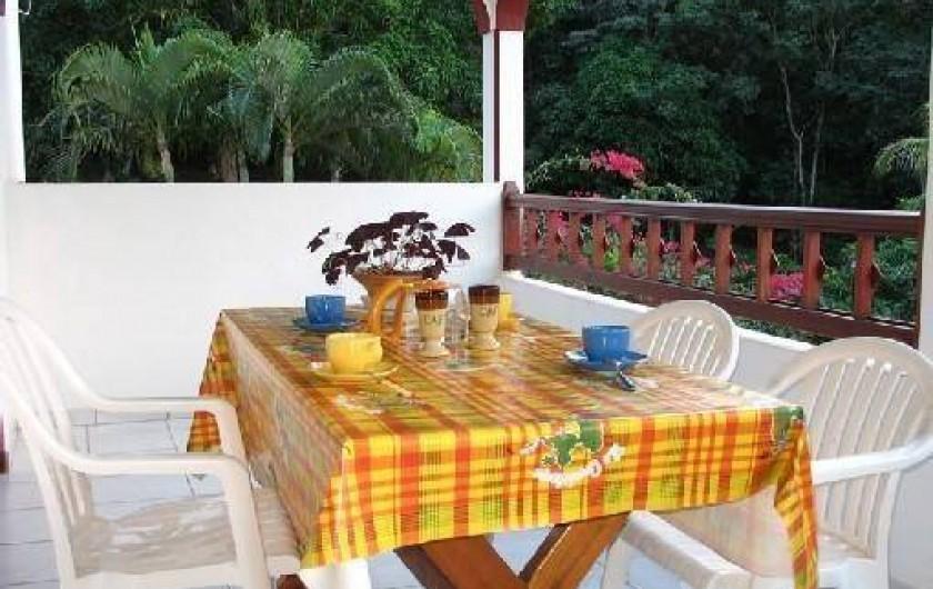 Location de vacances - Villa à Deshaies - Térrasse donnant sur      le parc et la piscine