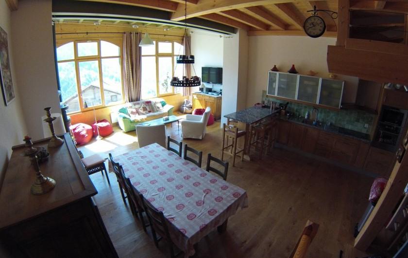 Location de vacances - Appartement à Gryon - Grande pièce à vivre