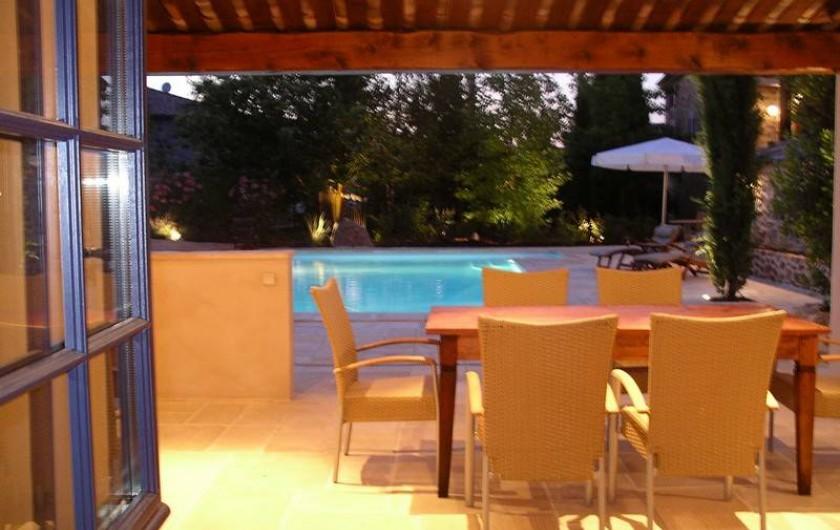 Location de vacances - Gîte à Rosières - Vue du pool-house à la piscine