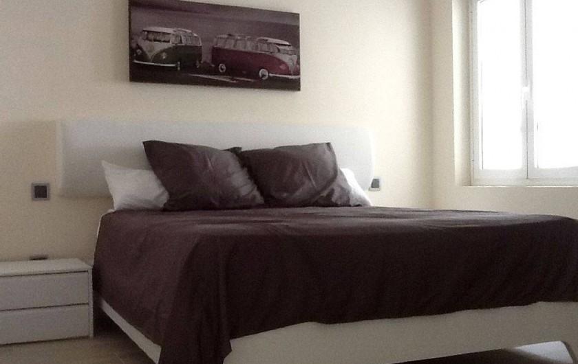 Location de vacances - Appartement à Salou - Chambre lit 160 avec accès SDB et WC  et vue mer