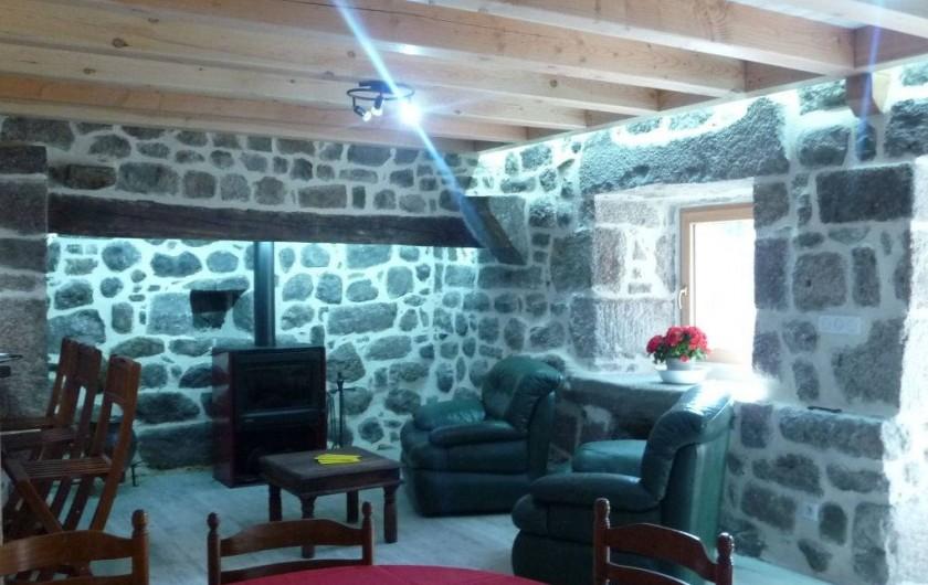 Location de vacances - Gîte à Marchastel - rez-de-chaussée - séjour : salon poêle à bois