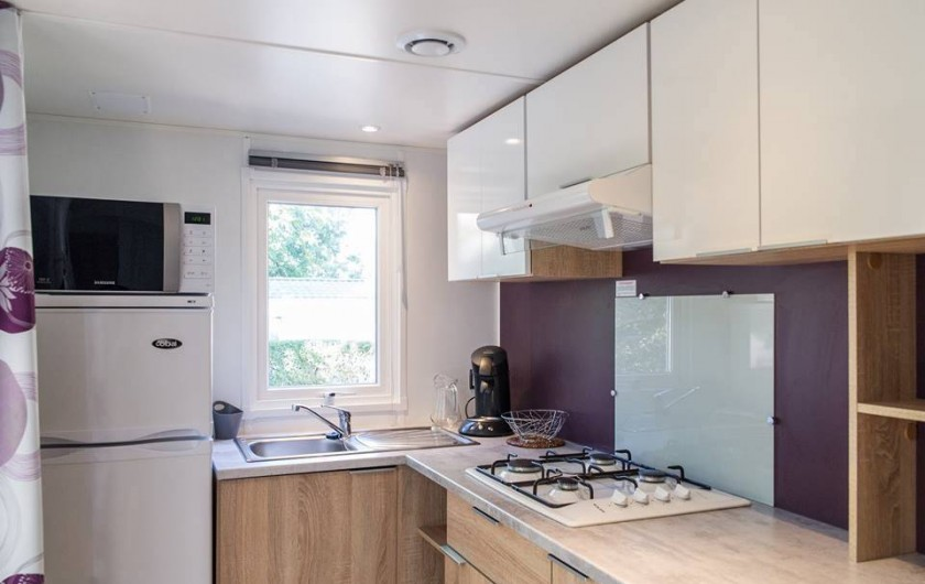 Location de vacances - Bungalow - Mobilhome à Céret - Cuisine d'un mobil home