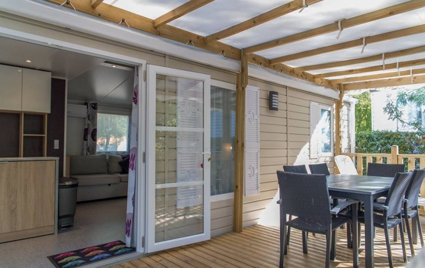 Location de vacances - Bungalow - Mobilhome à Céret - Terrasse d'un mobil home