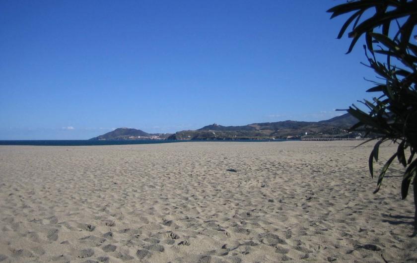 Location de vacances - Appartement à Argelès-sur-Mer - Vue de la plage sur les Albères lieu de ballades pédestres