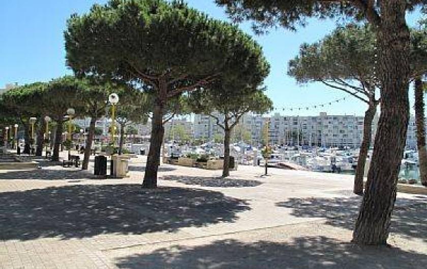 Location de vacances - Appartement à Carnon-Plage - Promenade le long du port avec  commerces et restauration, à 30 m de l'immeuble