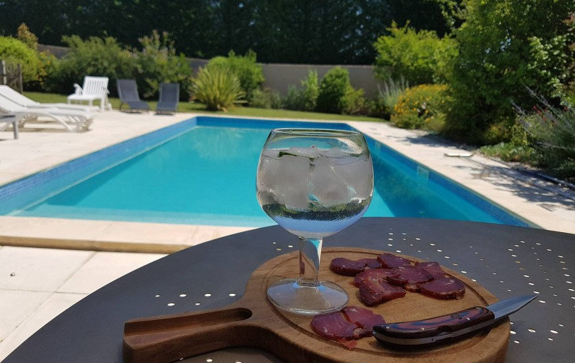 Location de vacances - Villa à Saint-Pierre-de-Vassols - apero piscine