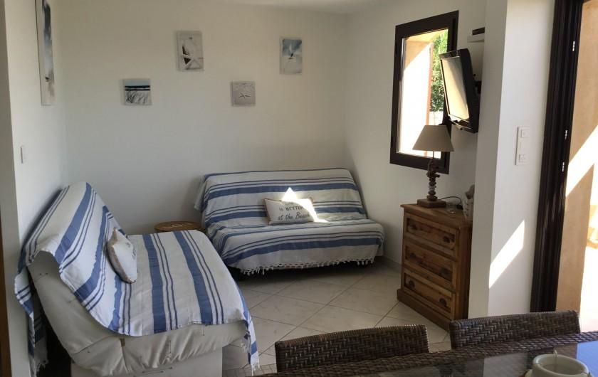 Location de vacances - Appartement à La Croix-Valmer - Coin salon équipé d'un canapé lit pour 2 pers, TV, WIFI,