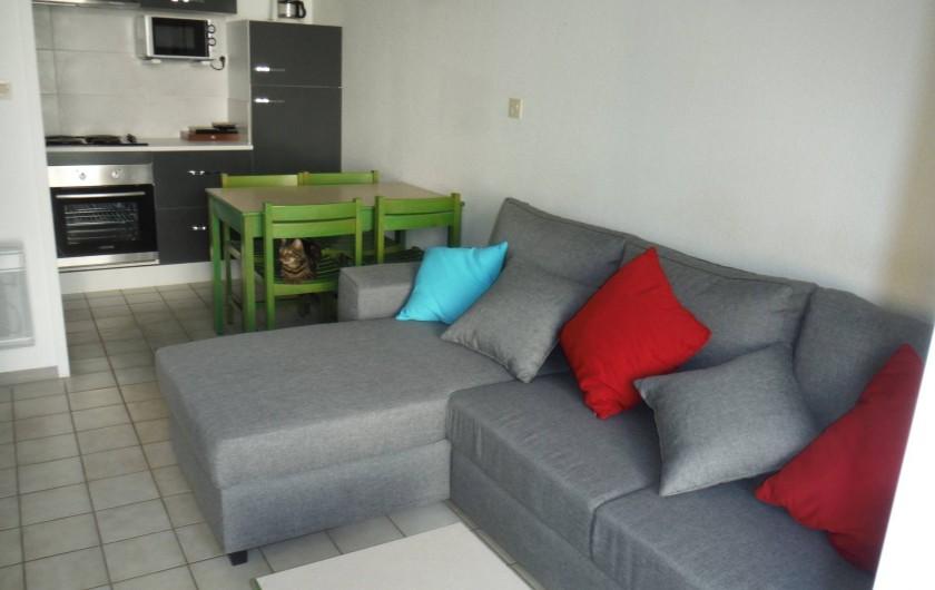 Location de vacances - Appartement à Digne-les-Bains - Au fond de la photo, la cuisine équipée. Devant le canapé convertible.
