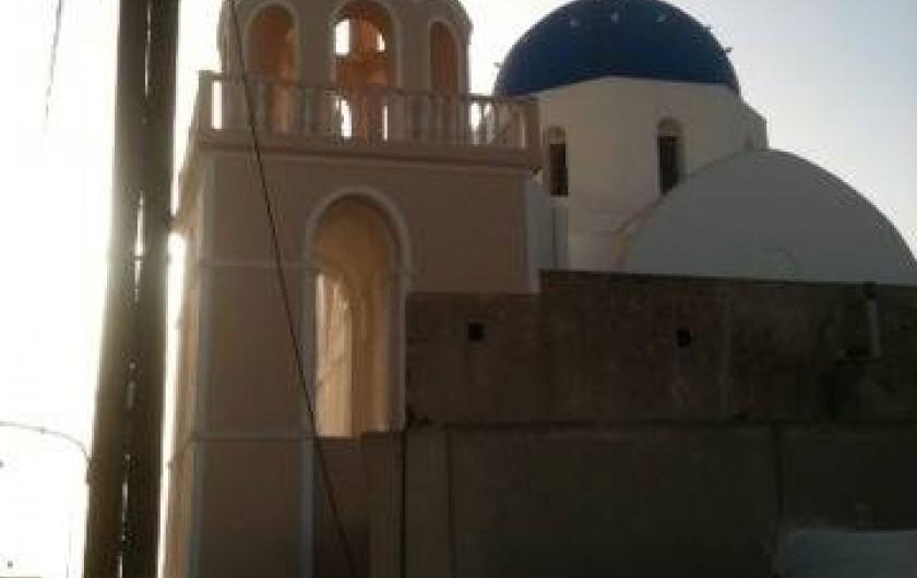 Location de vacances - Appartement à Mesaria - Bercé au son des psalmodies Byzantin de sainte Irène. Vue de notre terrasse.