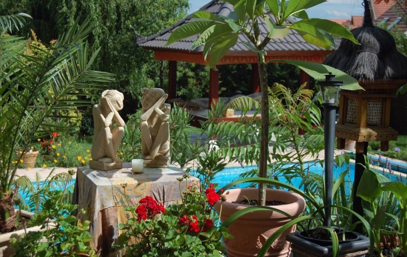 Location de vacances - Chambre d'hôtes à Marlenheim - Jardin : vue sur la piscine