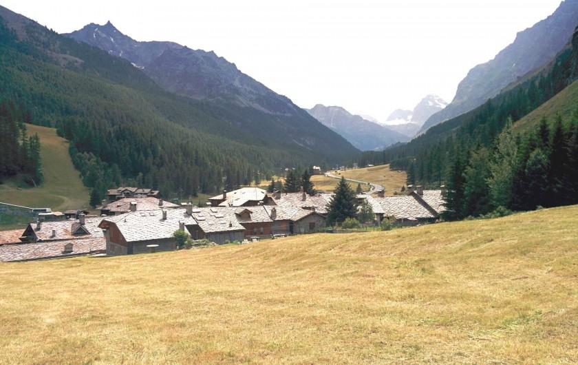 Location de vacances - Studio à Rhêmes-Notre-Dame - vue sur le village en été