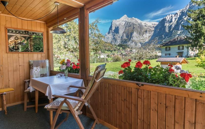 Location de vacances - Appartement à Grindelwald - vue du terrasse