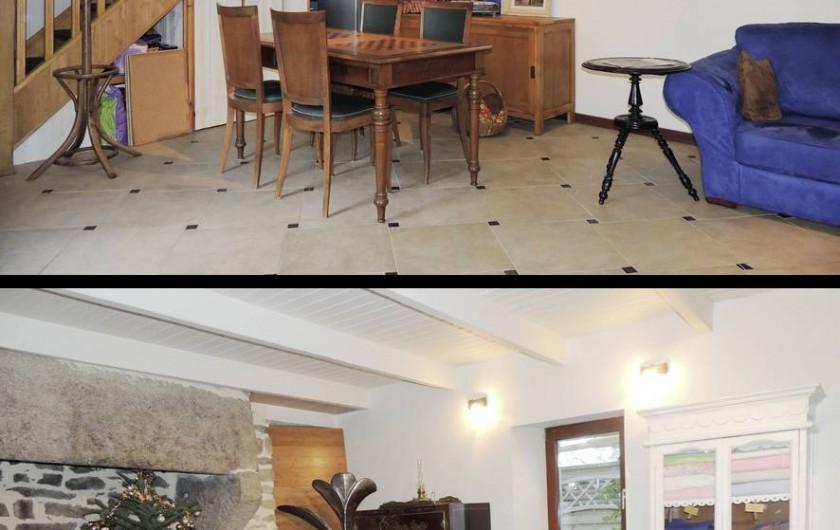 Location de vacances - Gîte à Saint-Jean-Trolimon - Salon-Salle à manger (accès cuisine aménagée) . Grande cheminée (TV écran plat)