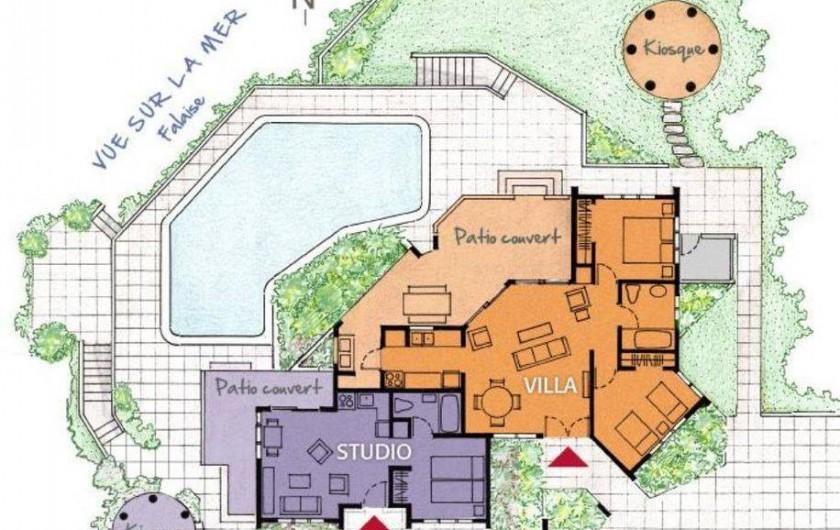 Location de vacances - Villa à Cabrera - Plan de la villa et du studio