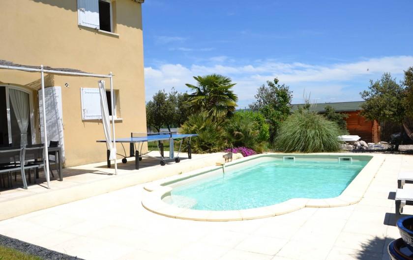 Location de vacances - Villa à Aix-en-Provence - Vue de la villa et de la piscine - Photo prise côté Sud-Ouest