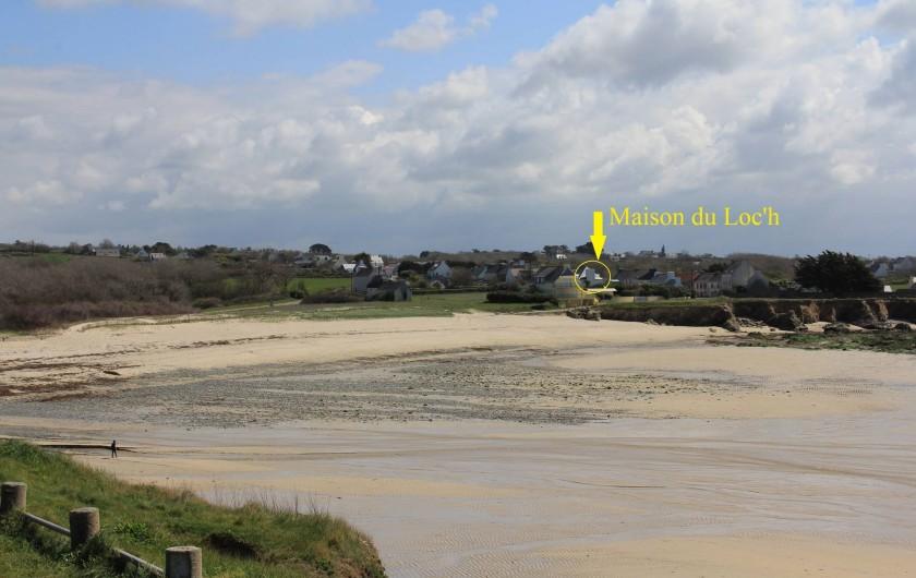 Location de vacances - Villa à Primelin - Plage du Loc' h et situation de la maison, sur la route de la Pointe du Raz.