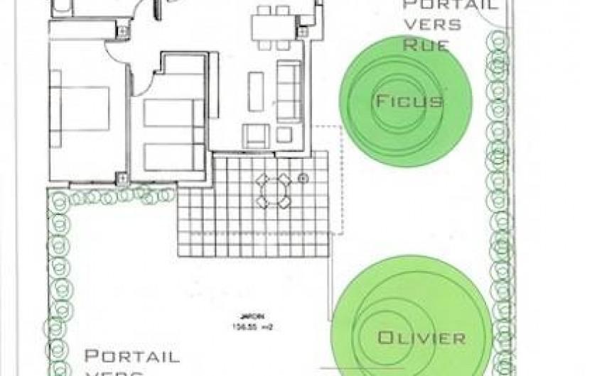 Location de vacances - Appartement à Canet d'en Berenguer - Plan de l'appartement et de son jardin
