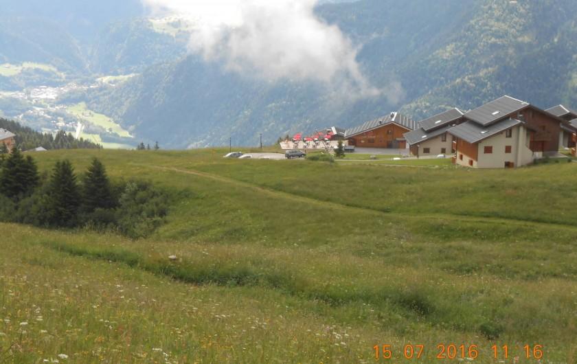 Location de vacances - Appartement à Villard-sur-Doron - Les Fermes du Beaufortain : vue en été de la piste du Planay