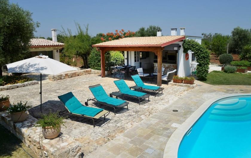 Location de vacances - Villa à Ceglie Messapica - Terrasse ensoleillée, piscine et cuisine extérieure