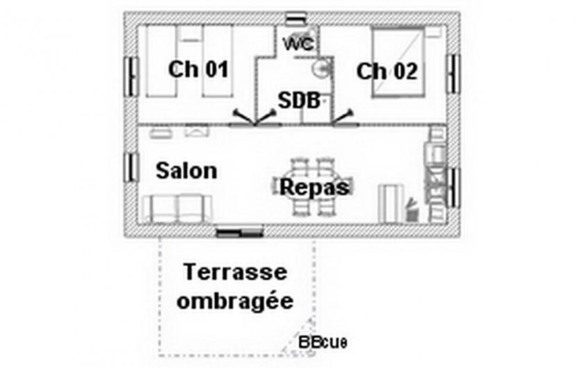 Location de vacances - Gîte à Salviac - Plan maison 2 : 4/5 personnes