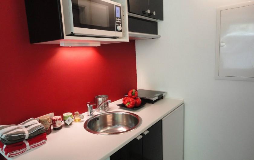 Location de vacances - Studio à Namur - Plaque induction,micro-onde combiné, frigo et freezer. Senseo. Ustensiles .