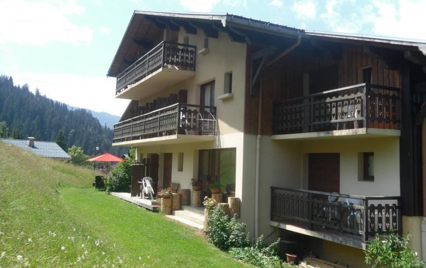 Location de vacances - Chalet à Cohennoz - COTE EST DU CHALET EN ETE