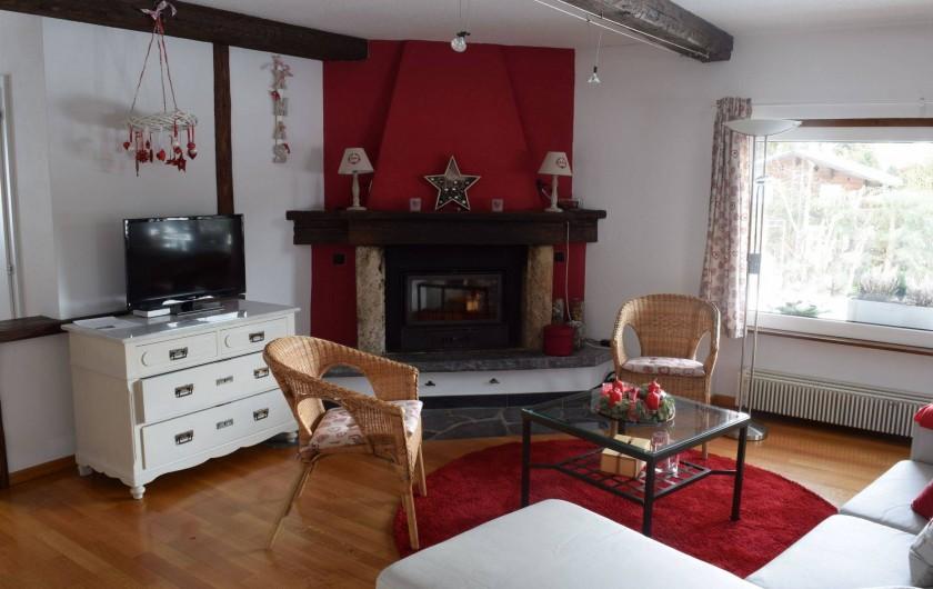 Location de vacances - Appartement à Vercorin - Séjour - avec cheminée