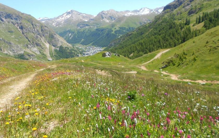 Location de vacances - Studio à Val-d'Isère - vue d'été sur Val d'Isère