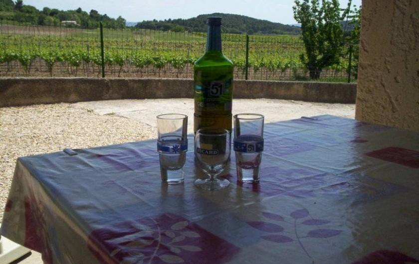 Location de vacances - Appartement à Saint-Martin-de-la-Brasque - terrasse  avec vue sur vignoble