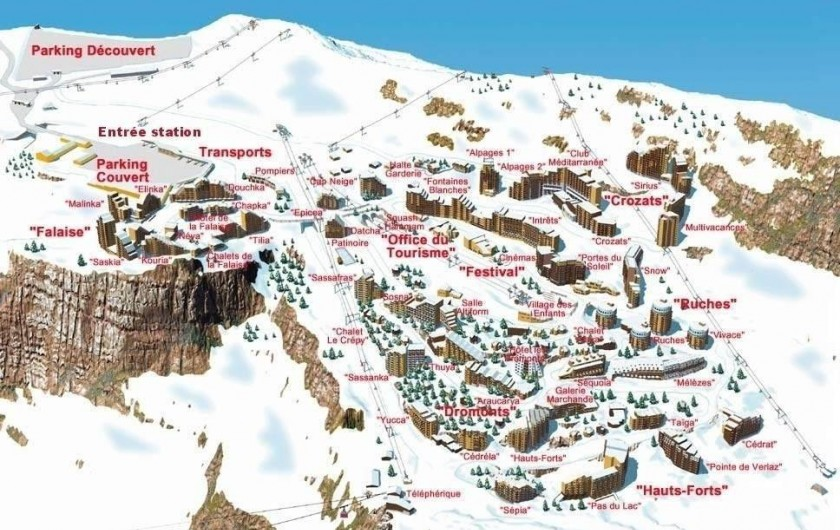 Location de vacances - Studio à Avoriaz - Plan du village
