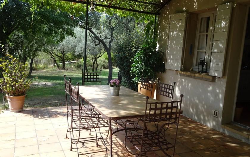 Location de vacances - Mas à Uzès - Terrasse extérieure exposée au Sud et ombragée avec une  magnifique vigne