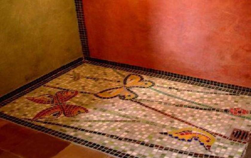Location de vacances - Gîte à Lentillac-du-Causse - salle de bain douche italienne déco mosaîque