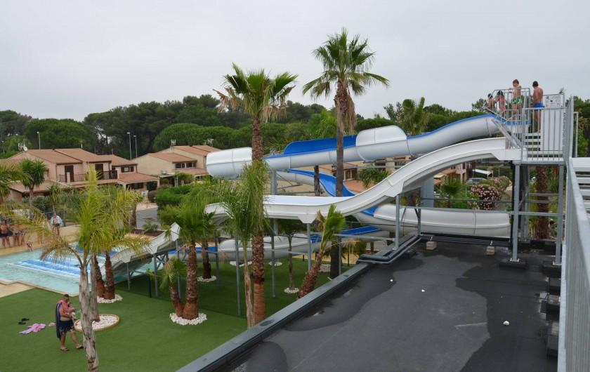 Location de vacances - Maison - Villa à Portiragnes Plage - Vue piscine avec toboggans