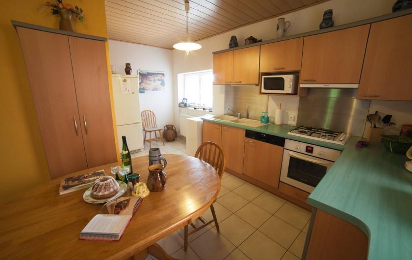 Location de vacances - Appartement à Oberrœdern - Espace repas pour 5 adultes. Prêt d'une chaise BB possible