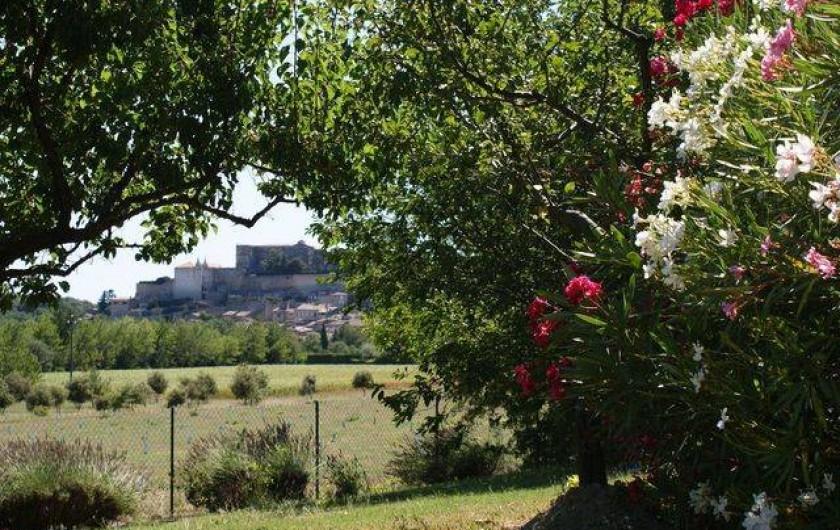 Location de vacances - Appartement à Grignan - Vue sur château et village perché depuis jardin de la villa