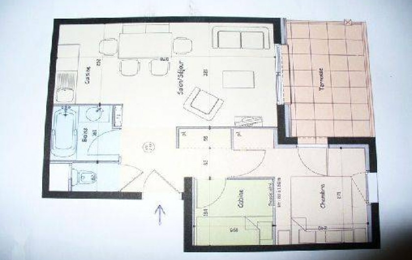 Location de vacances - Appartement à Abries - plan de l'appartement