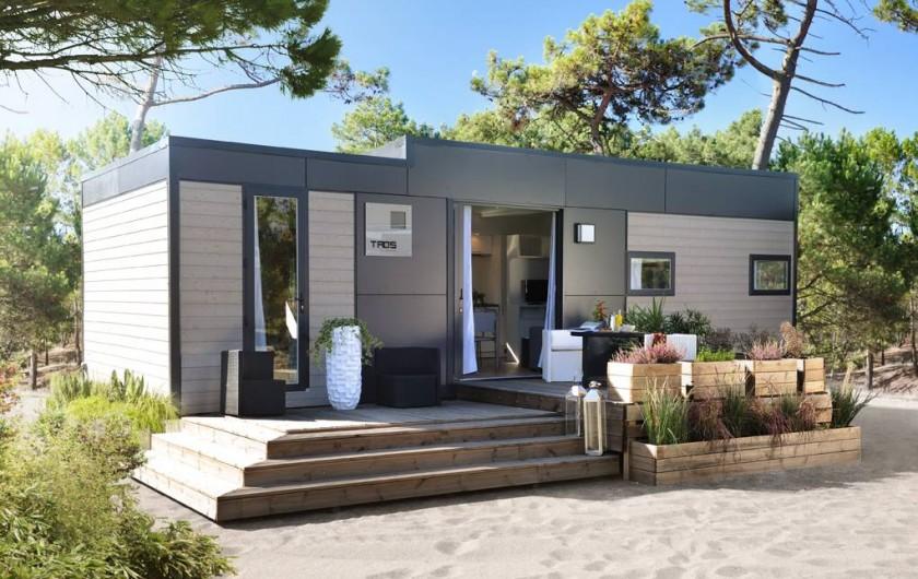 Location de vacances - Bungalow - Mobilhome à Biscarrosse - MOBILHOME PRENIUM TAOS 3 Chambres grand confort, terrasse podium