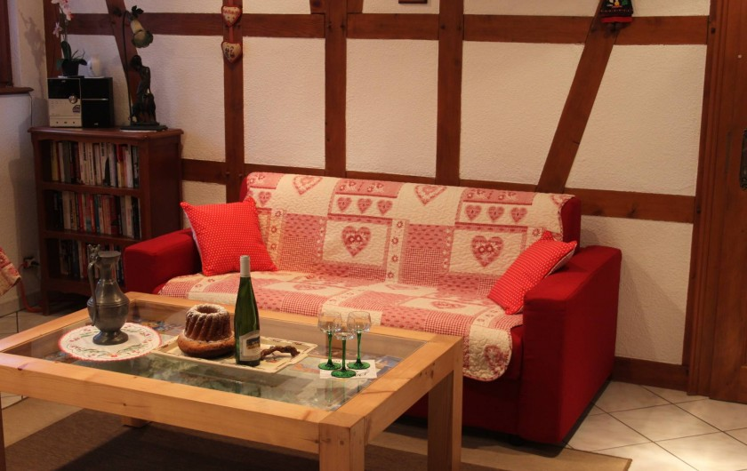 Location de vacances - Gîte à Nothalten - Le coin salon et son canapé convertible