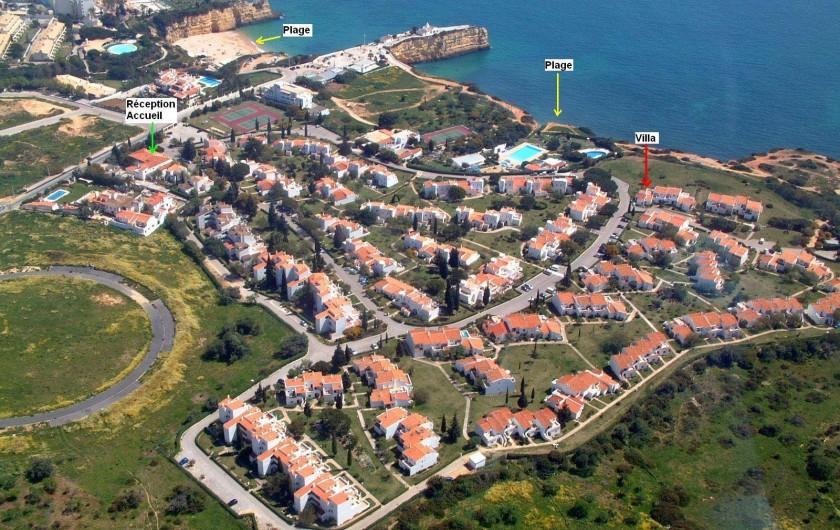 Location de vacances - Villa à Porches - Vue aérienne avec localisation du site