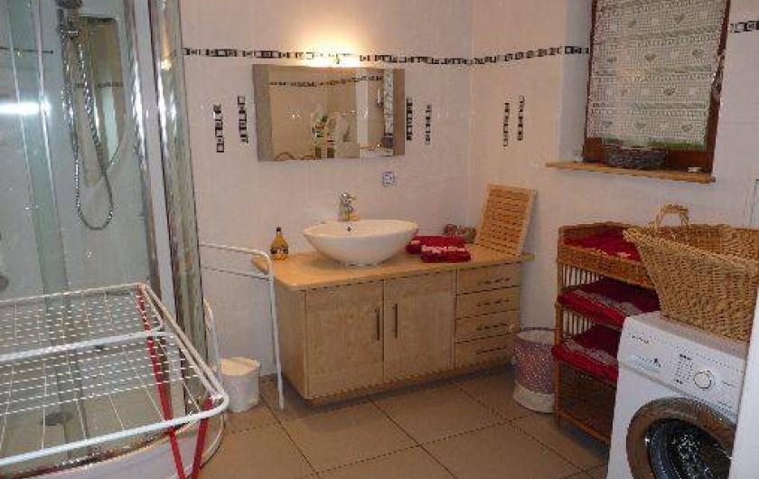 Location de vacances - Gîte à Breitenbach-Haut-Rhin - salle de bain avec douche,sèche-serviette,machine à laver
