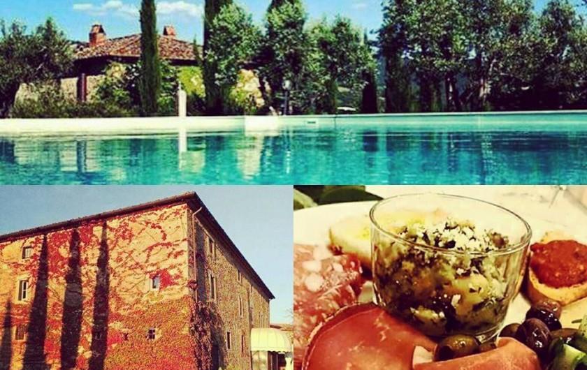 Location de vacances - Appartement à Chiassa - Piscine, vue du batiment, ristoration