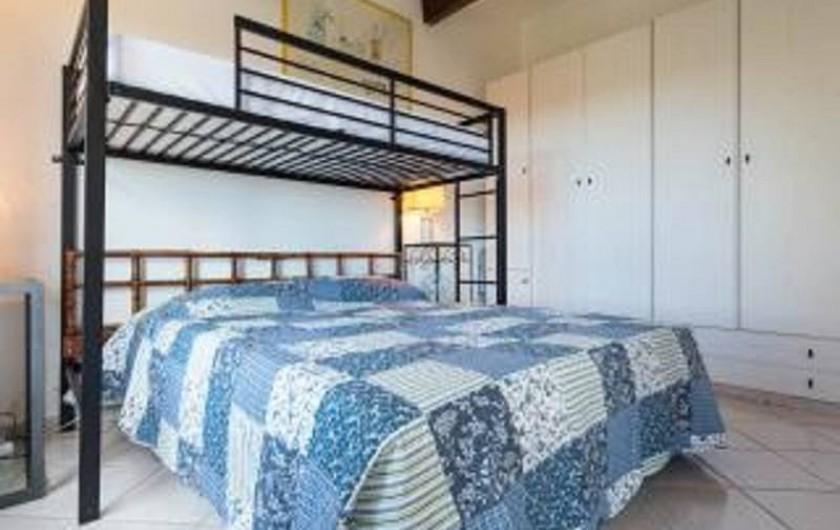 Location de vacances - Studio à Cagnes-sur-Mer - Chambre lit avec son placard du studio Francy