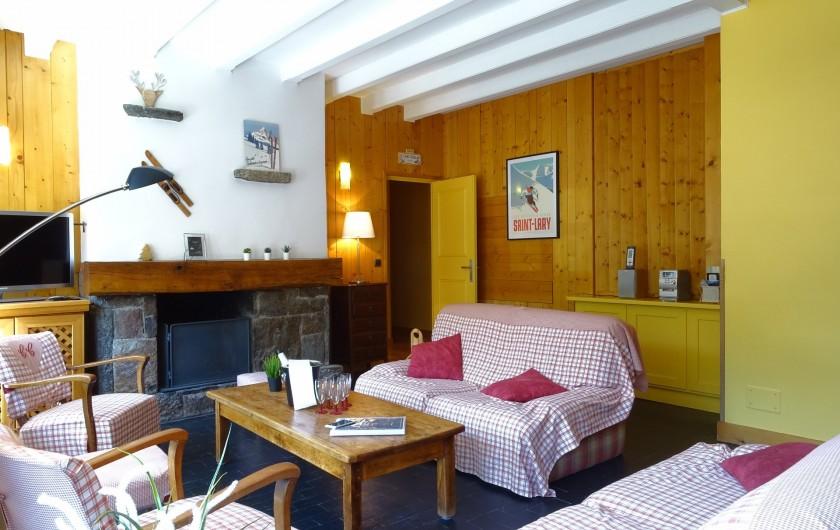 Location de vacances - Appartement à Saint-Lary-Soulan - salon avec cheminée décorative