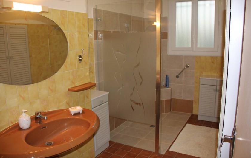 Location de vacances - Villa à Mazan - salle de bain du bas avec douche à l'italienne et lavabo