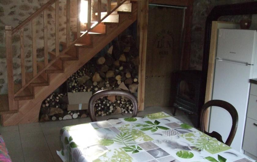 Location de vacances - Gîte à Châgnon - coin cuisine poèle  à bois