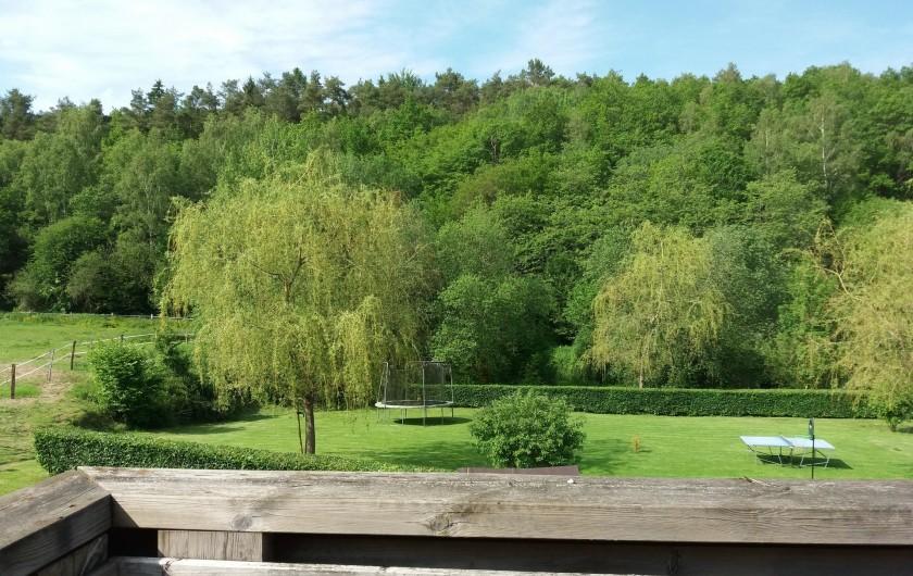 """Location de vacances - Gîte à Haut-Fays - Vue jardin (pétanque, trampoline, ping-pong) de la terrasse """"La Chevauchée"""""""